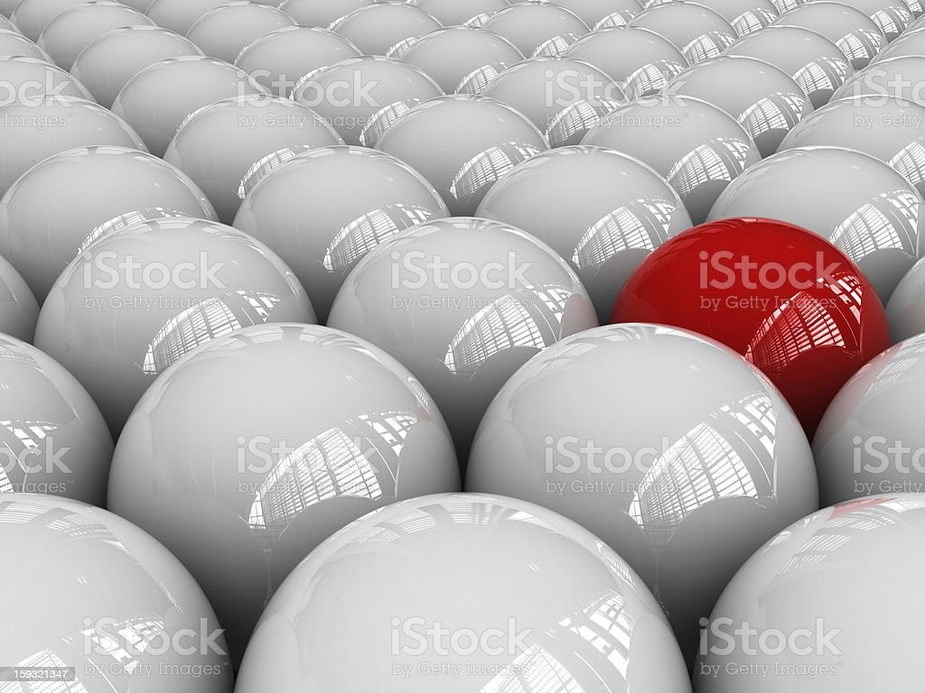 Background of Spheres One Red royalty-free stock photo