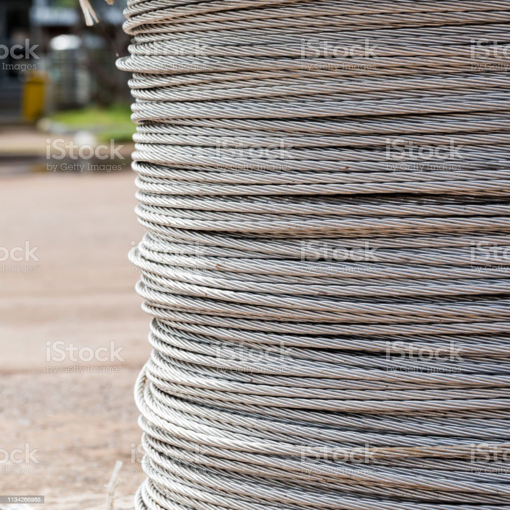 Background of steel cable, steel wire or steel rope in the roll.