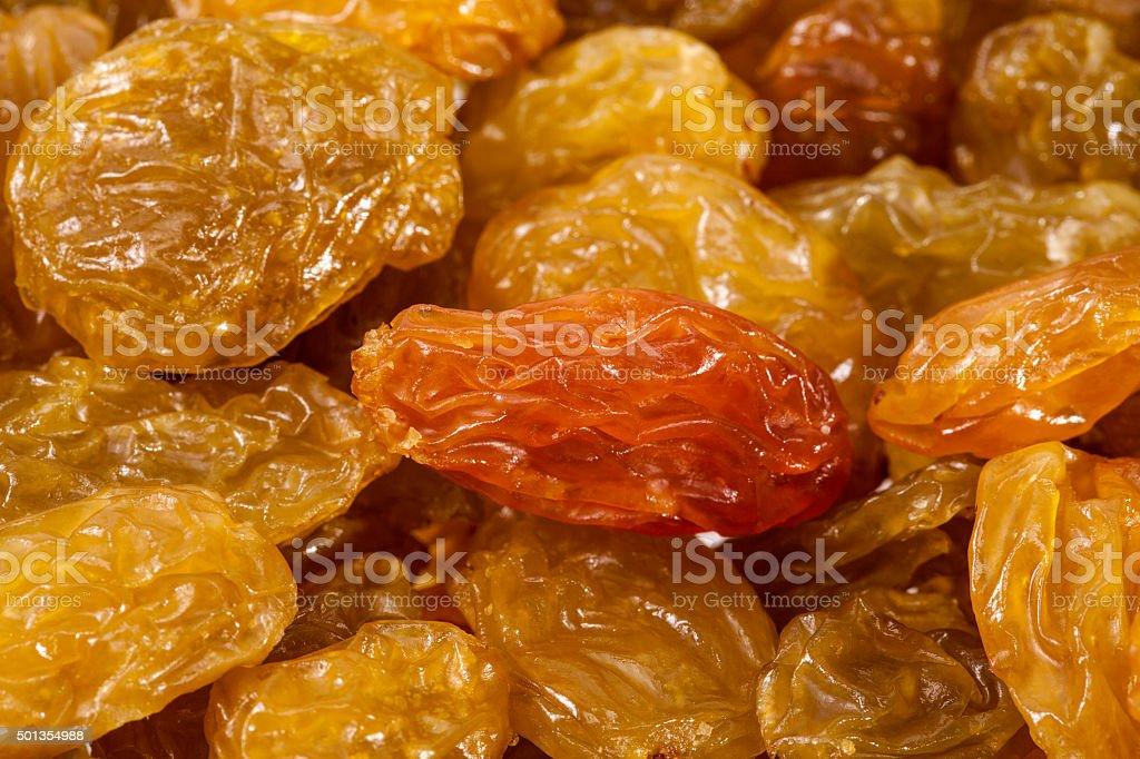 background of sultana raisins, close up stock photo