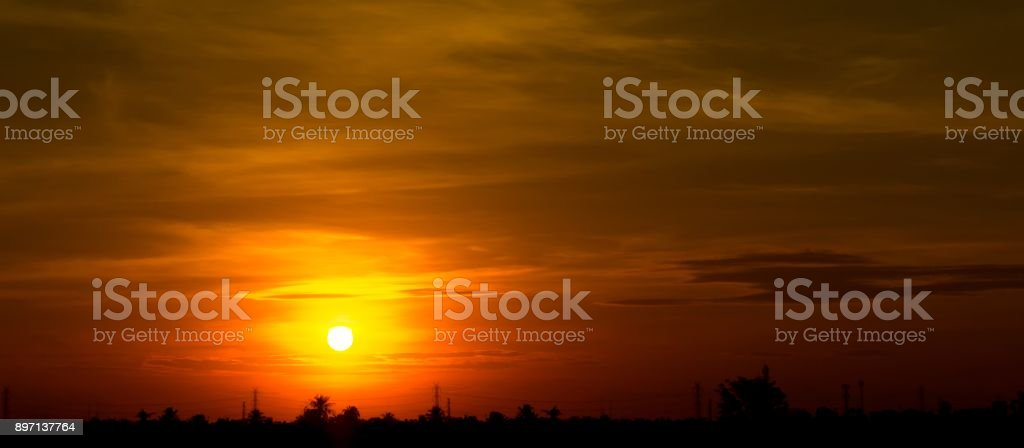 Background of sunrise or sunset on the  sky and cloud stock photo