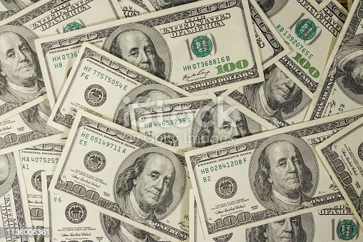 istock Background of the one hundred dollars bills 1136006361