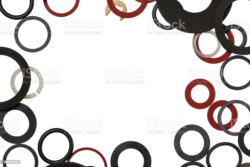 Background of the sealing rings and gaskets stock photo