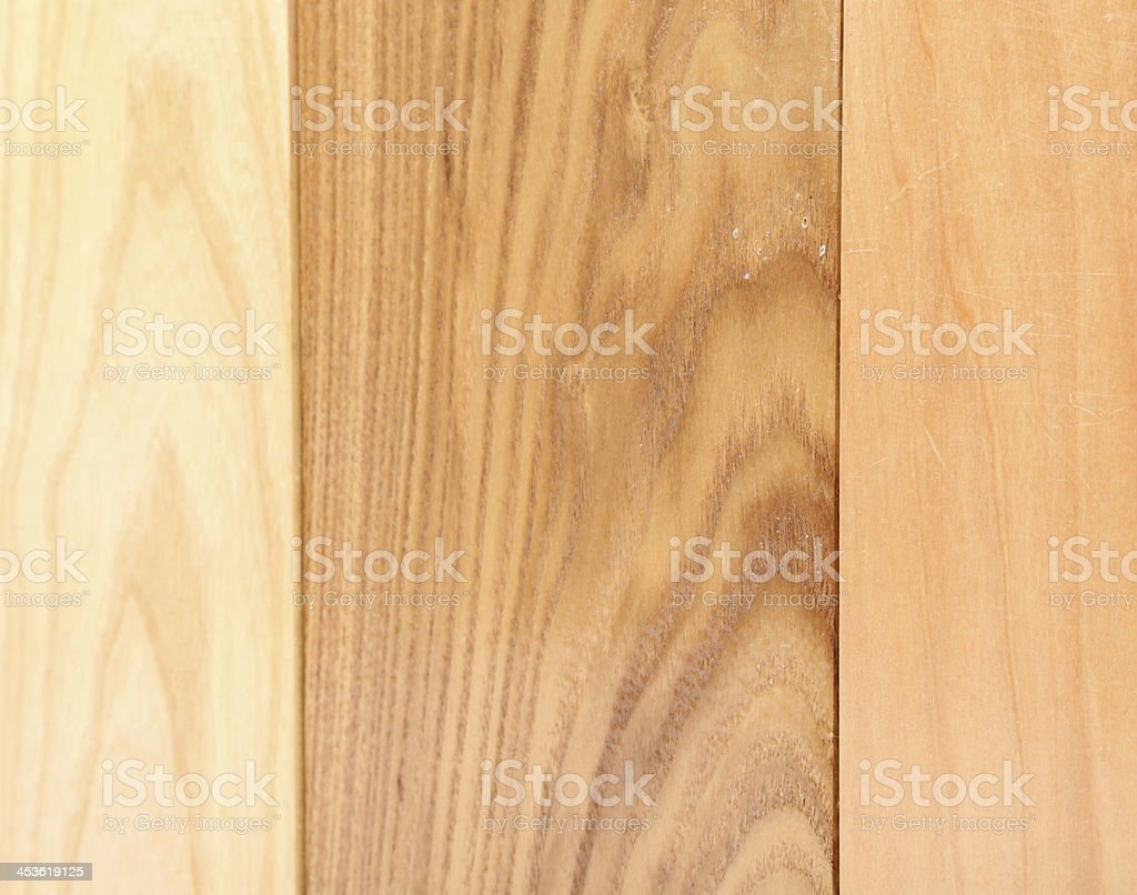 Background of three boards (linden, elm, acacia) royalty-free stock photo