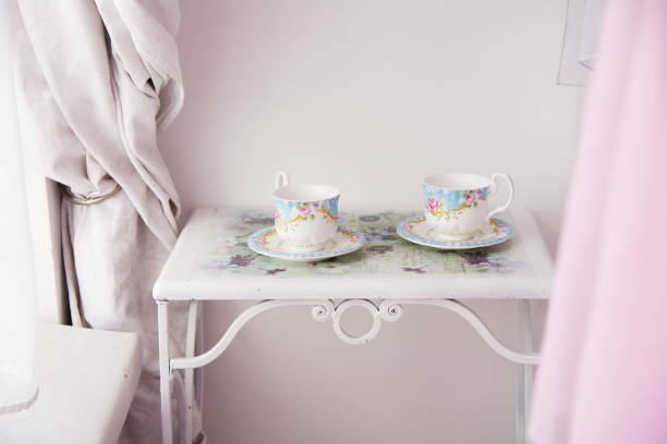 Background of two cups and saucers on a metal table stock photo