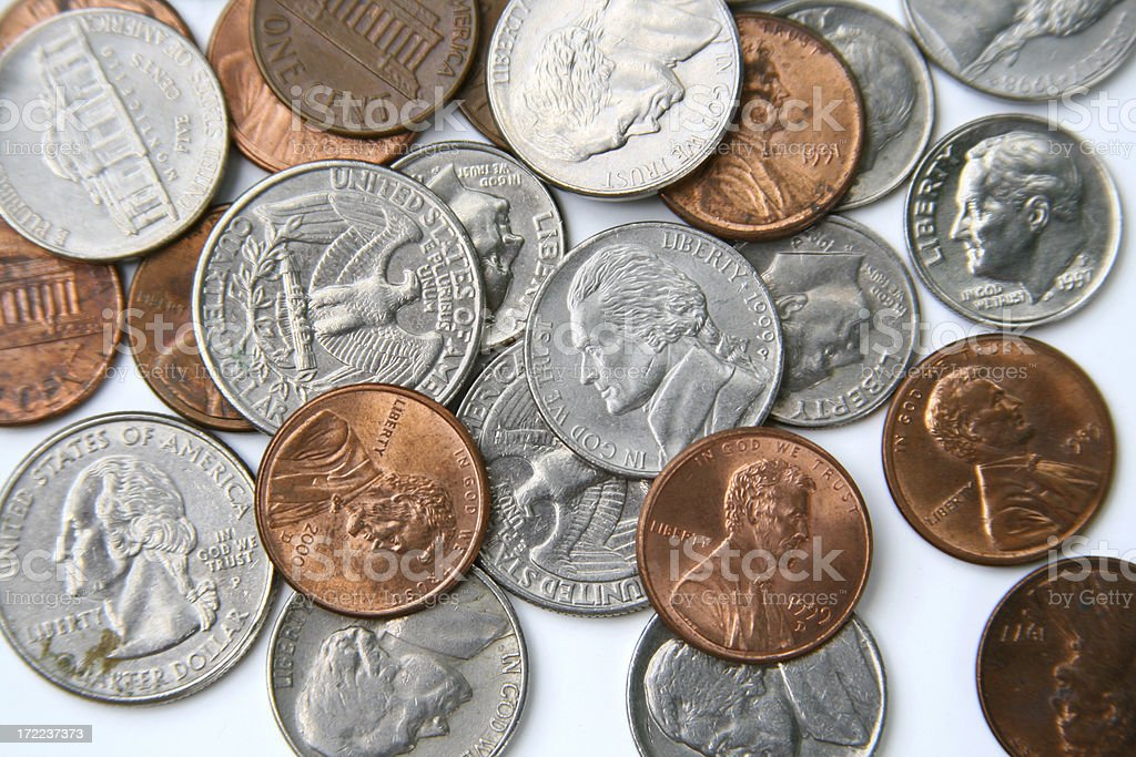 Background of US Coins stock photo