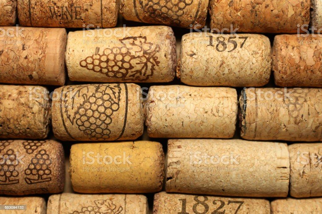 Fond de bouchons de vin utilisés - Photo