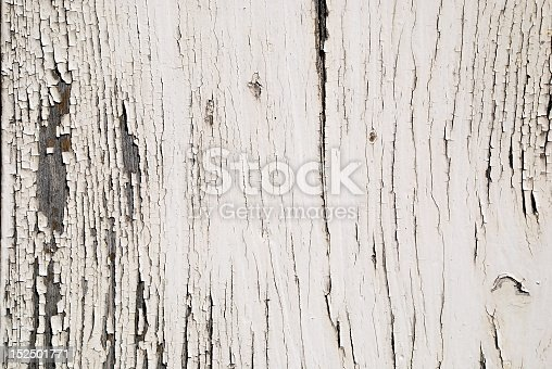 Closeup of an old weather wooden white door / wall shabby look texture with copy space in the background.