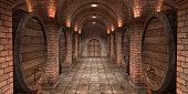 Background of wine barrels in wine-vaults. Mixed media. Interior of wine vault with wooden barrels. -3d rendering. - Illustration.