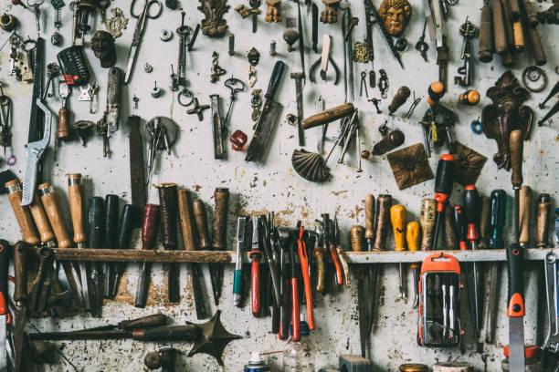 araçlar çalışma arka plan - tutamak üretilmiş nesne stok fotoğraflar ve resimler