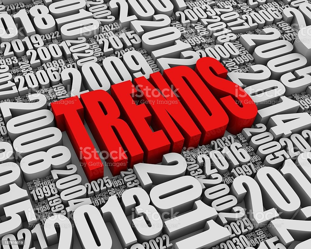 Background of year numbers in greyscale with red trends text stock photo