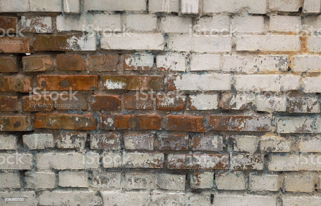 Background old cracked brick wall texture. stock photo