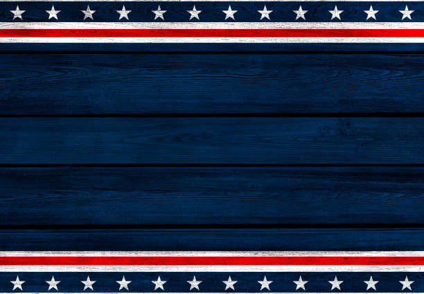 USA background on wood USA flag elements on wood planks backdrop. Color effects and management made with Photoshop. independence day photos stock pictures, royalty-free photos & images
