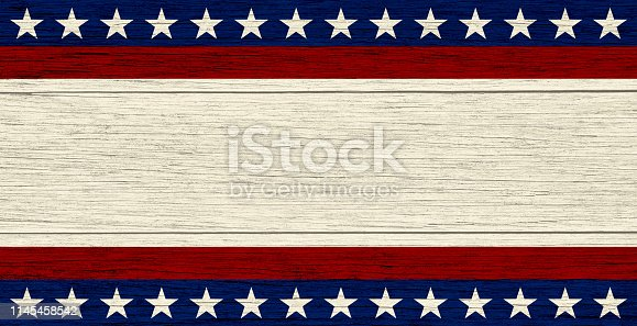 USA flag elements on wood background, retro style. Copy space available for text.