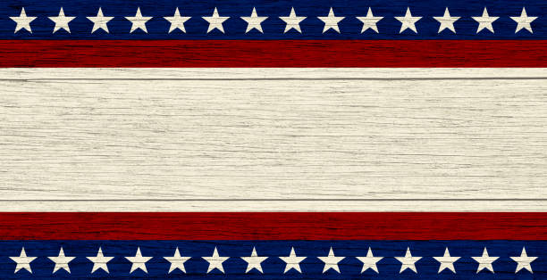 USA background on wood USA flag elements on wood background, retro style. Copy space available for text. fourth of july photos stock pictures, royalty-free photos & images