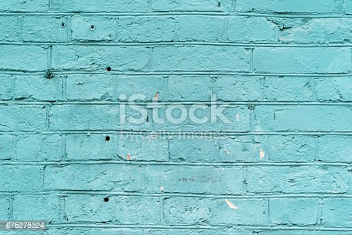 background painted brick wall in blue color