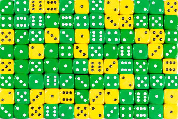 Background patteren of random ordered green and yellow dices Pattern background with two-third random ordered green dices and one-third yellow dices arbitrary stock pictures, royalty-free photos & images