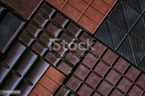 Background pattern of assorted or a variety of chocolate bars