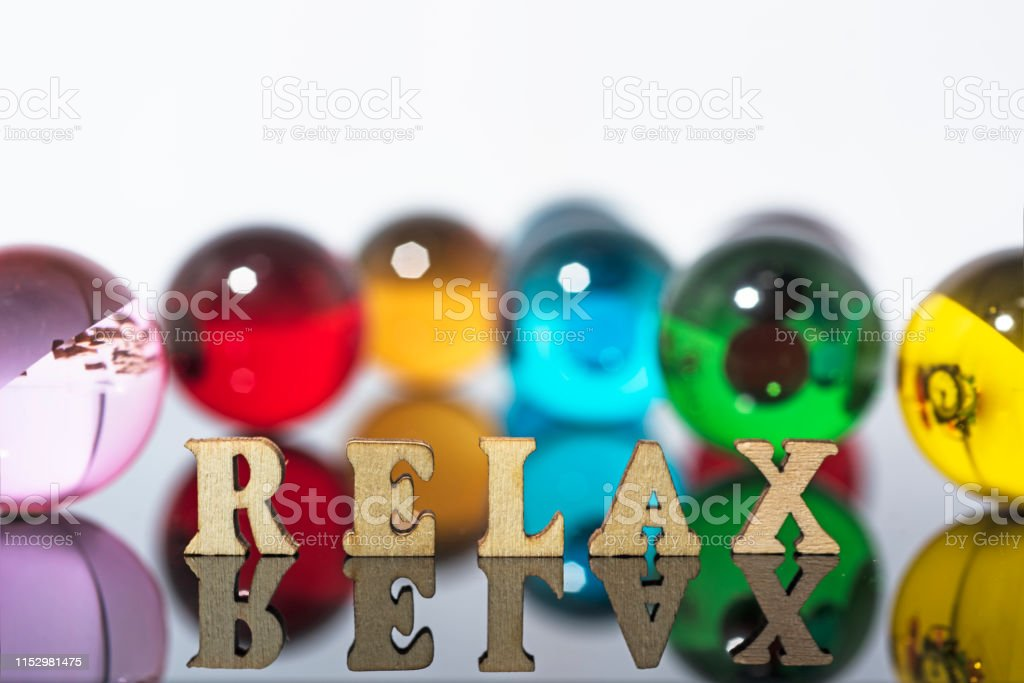 Spa Background Photo With Glass Crystals And Wooden Letters Stock