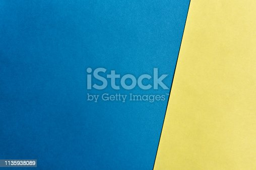 Blue and yellow background.