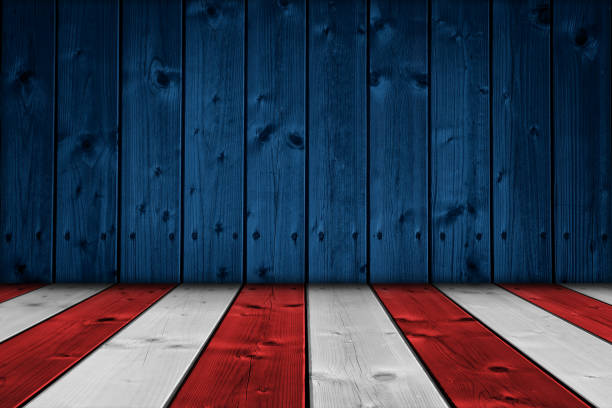USA background Wood wall and floor painted to replicate the American flag colors - Empty interior room with american flag colors. Copy space available for text. independence day photos stock pictures, royalty-free photos & images