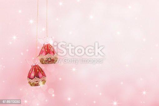 Background pink Christmas Balls