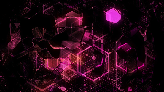 904312598 istock photo 3D background rendering based on luminous color geometric shapes of different sizes 989251650