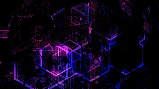 904312598 istock photo 3D background rendering based on luminous color geometric shapes of different sizes 989252140