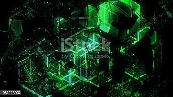 884384640istockphoto 3D background rendering based on luminous color geometric shapes of different sizes 989252200