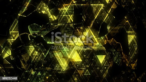 884384640istockphoto 3D background rendering based on luminous color geometric shapes of different sizes 989252448