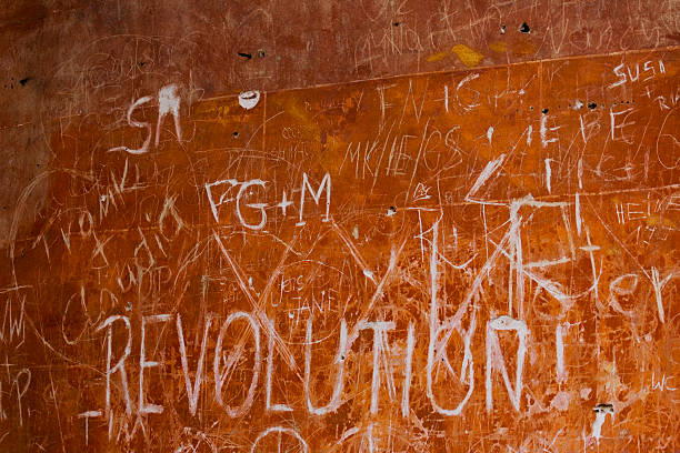 background, revolution - sign at the wall stock photo