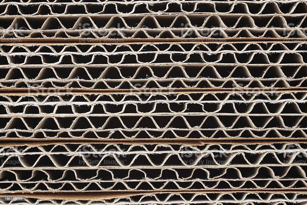 Background: Stack of corrugated cardboards stock photo