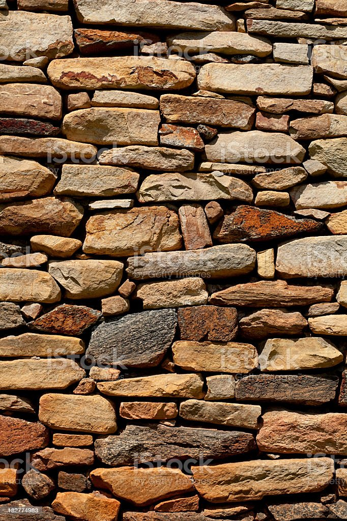 Background - Stacked Stone Wall. Full Frame,  Vertical royalty-free stock photo