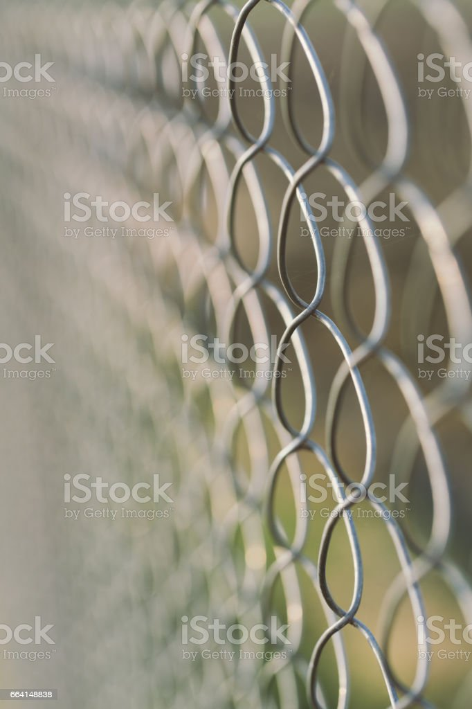 Background steel fence mesh, shallow depth of field foto stock royalty-free