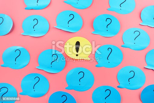 istock Background , stickers. Exclamation point in the center. Question marks written on blue papers. 928565646