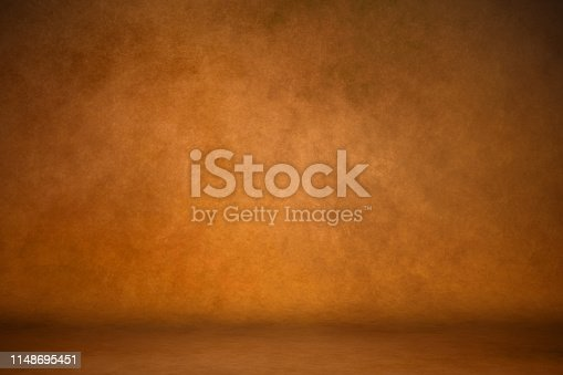 Background studio portrait backdrops brown canvas background on the wall and on the floor with a soft transition.