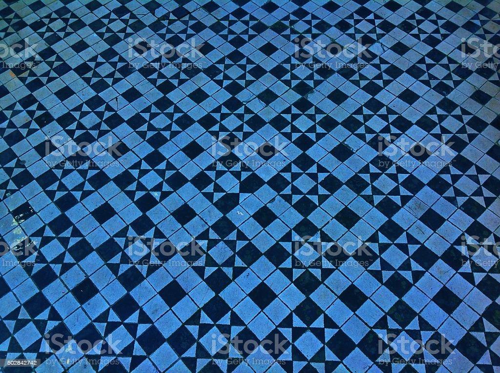 Sfondo texture piastrelle blu con motivo vittoriano mosaico