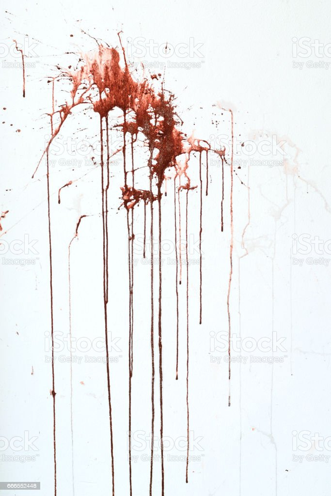 Background texture cement white wall with red blood-like paint streaks стоковое фото