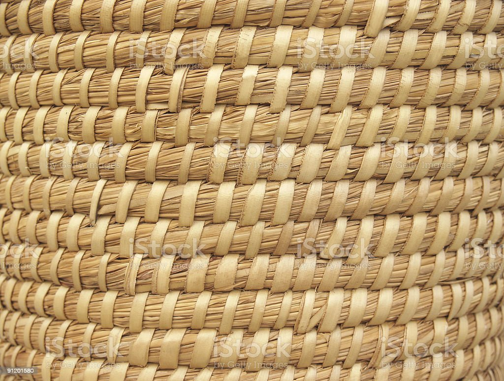 Background Texture of Coiled Reed Basket in Natural Tone stock photo
