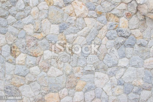 Background texture of Medieval natural stone wall textured background or boundary the Rock seamless abstract and fragment of a walls from a gray chipped stones ancient.