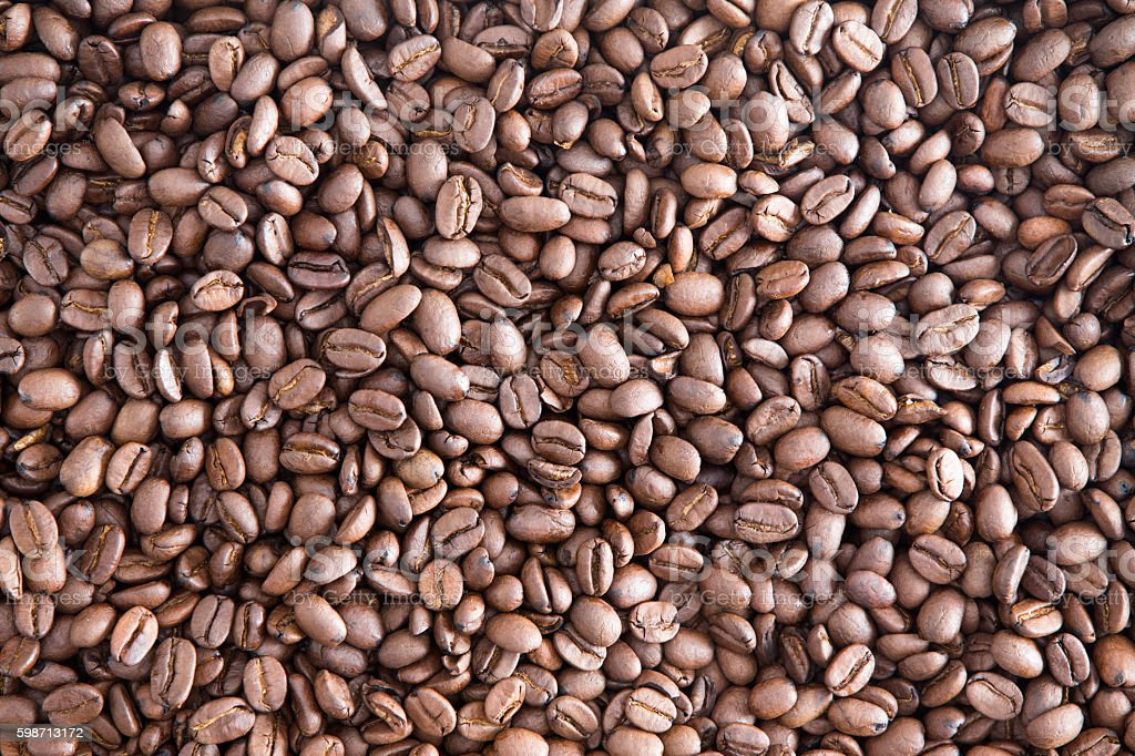 Background texture of roasted coffee beans stock photo