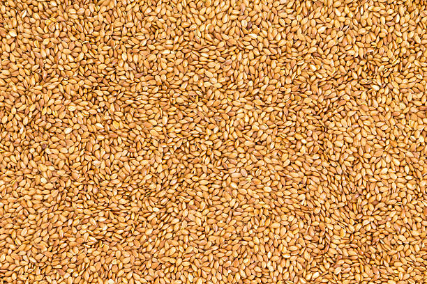 Background texture of roasted golden flax seed stock photo