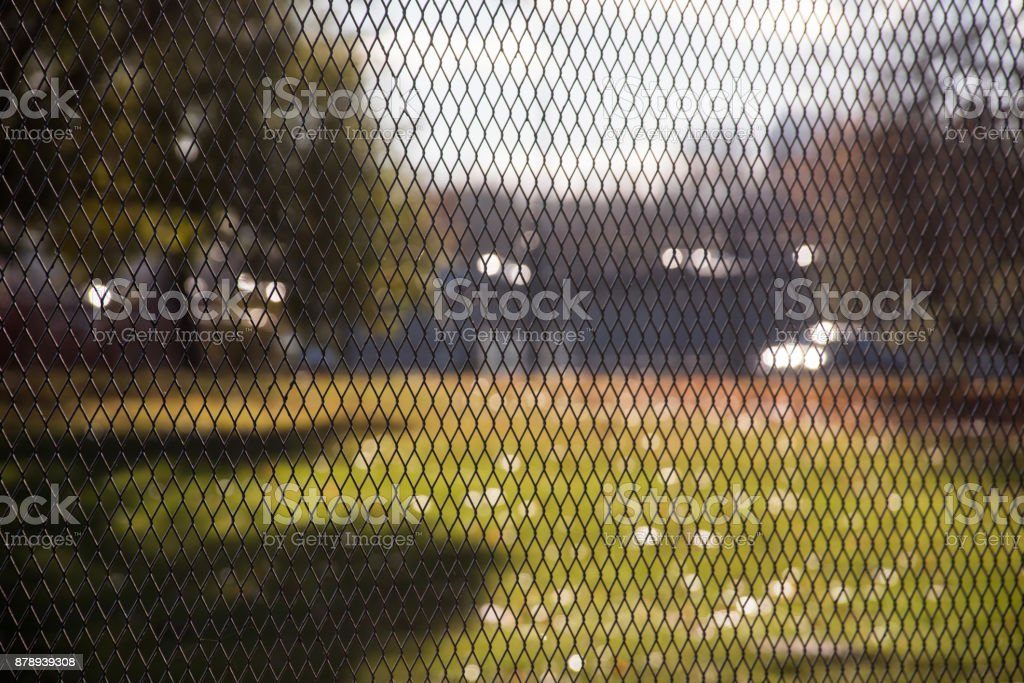 Background texture of the metal mesh fence stock photo