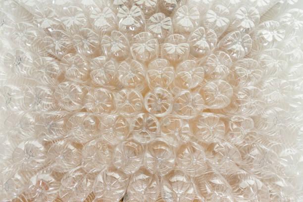 Background texture of upturned plastic bottles stock photo