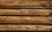 istock Background texture of vintage wooden logs wall 1184472189