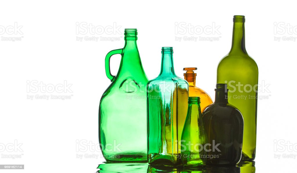 Background texture, pattern. Empty bottles. Recycling of household items, including glass, stock photo