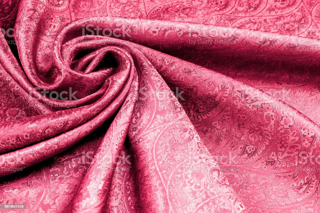 Background texture, pattern. Red Paisley Silk indian fabric - achat tissu paisley. Soft, smooth, non-stretch, non-sheer. stock photo