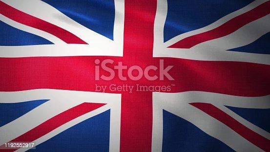 Background - UK flag. United Kingdom flag. 3D rendering.