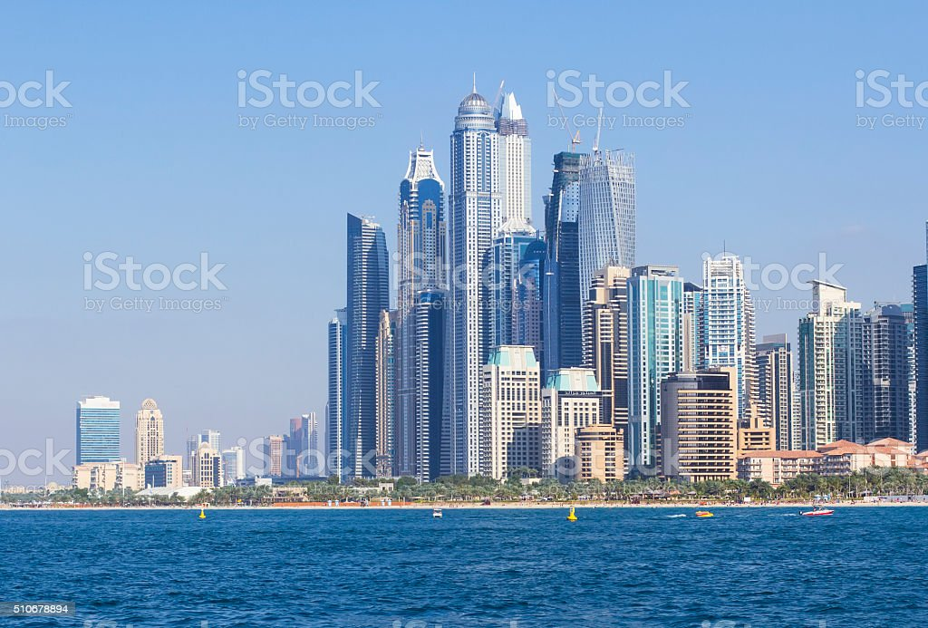 background view of beautiful skyscrapers in Dubai Marina stock photo