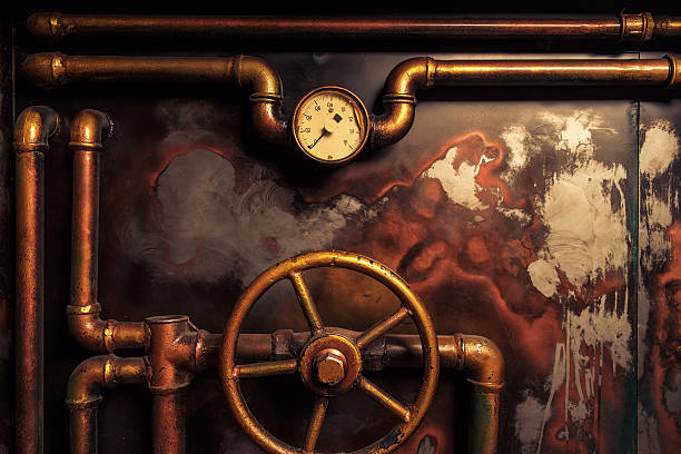 background vintage steampunk - steampunk stock photos and pictures