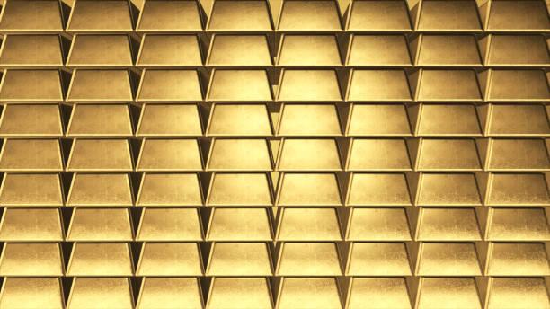 Parede do fundo de lingotes de ouro no lado - foto de acervo